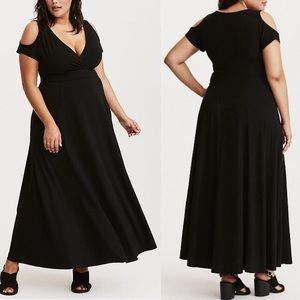 Torrid Surplice Cold Shoulder Black Maxi Dress NEW